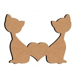 Support bois à décorer MDF - Double chat 15 cm