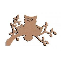 Support bois à décorer MDF - Chouettes 58 cm