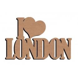 Support bois à décorer MDF - 'I love London' 58 cm