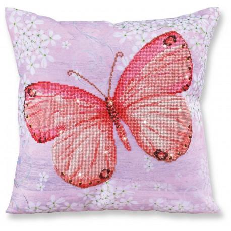 Coussin Papillon Rose