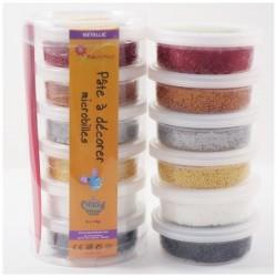 Pâte à décorer - Pack 6 couleurs Métalliques Fonçées